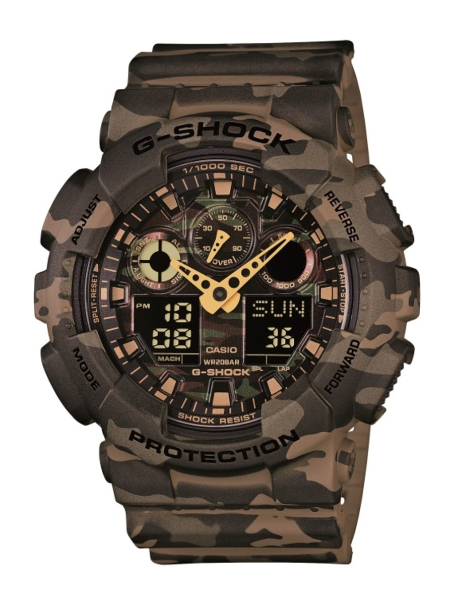 "Casio G-Shock GA-100CM Watch - ""Camouflage Plated Dial"" Series - 12"