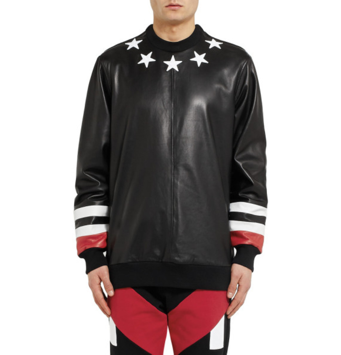 GIVENCHY - Star Detail Leather Sweatshirt with Jersey Back - 0