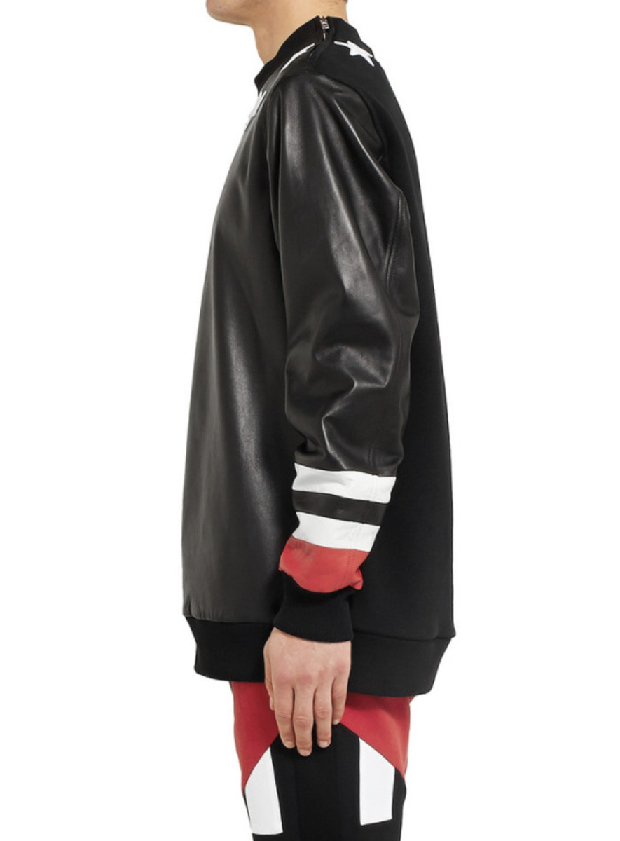 GIVENCHY - Star Detail Leather Sweatshirt with Jersey Back - 3