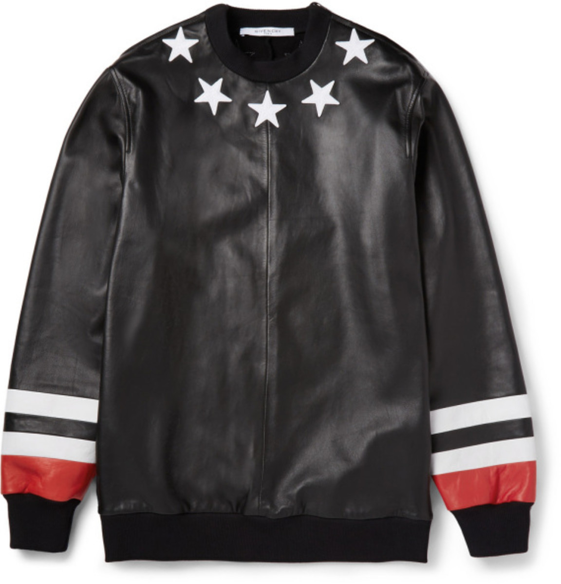 GIVENCHY - Star Detail Leather Sweatshirt with Jersey Back - 1