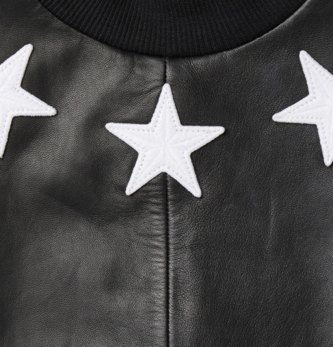 GIVENCHY - Star Detail Leather Sweatshirt with Jersey Back - 5