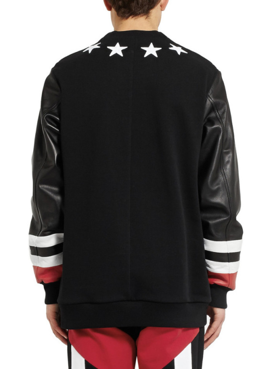 GIVENCHY - Star Detail Leather Sweatshirt with Jersey Back - 4