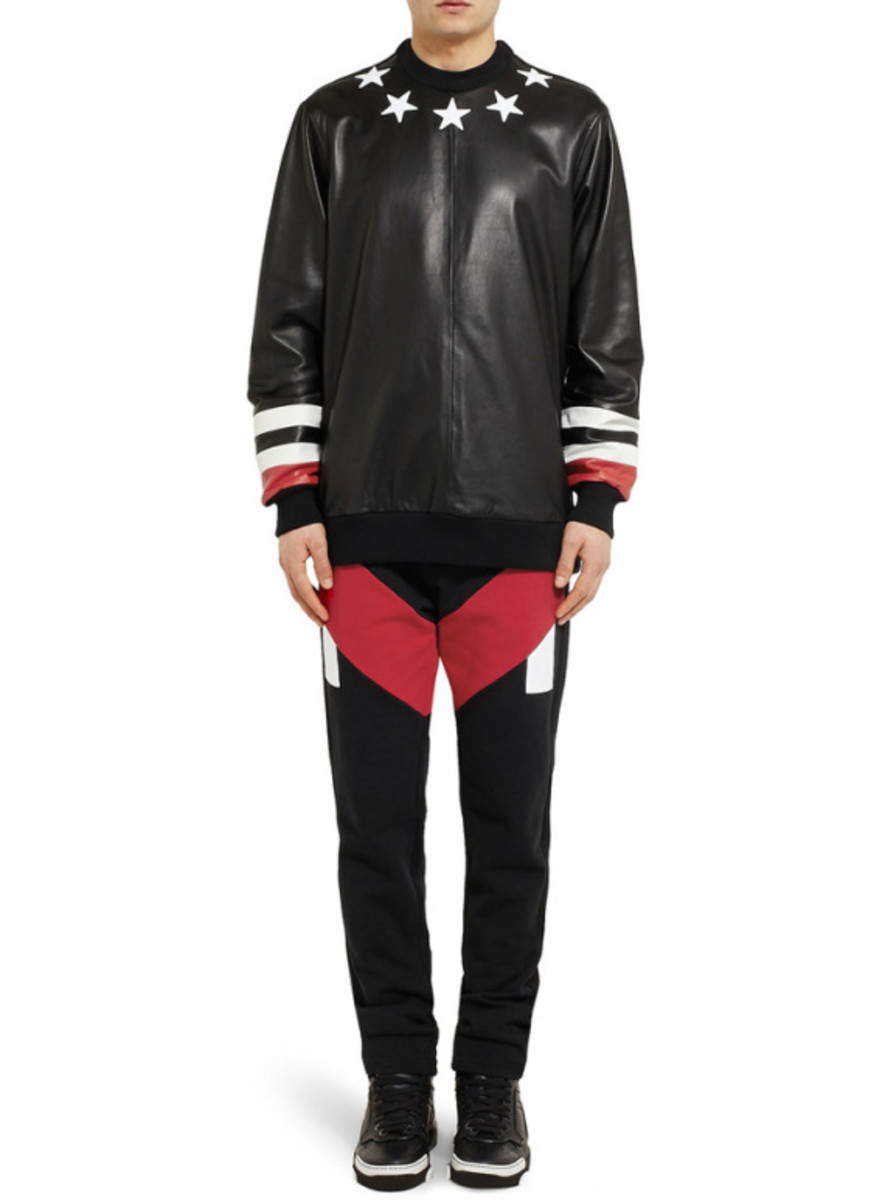 GIVENCHY - Star Detail Leather Sweatshirt with Jersey Back - 6