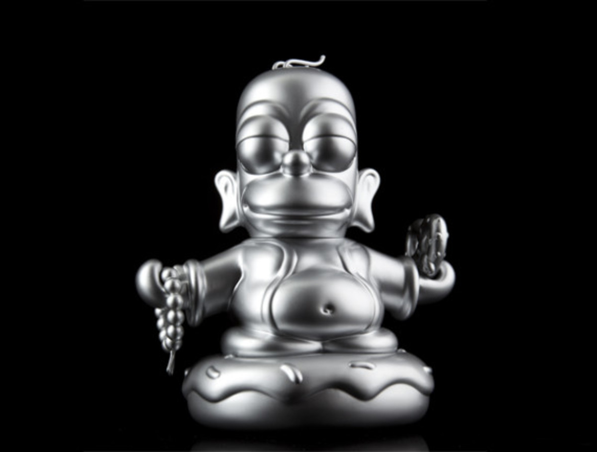 Kidrobot x The Simpsons Homer Buddha - Metallic Silver | Available Now - 0