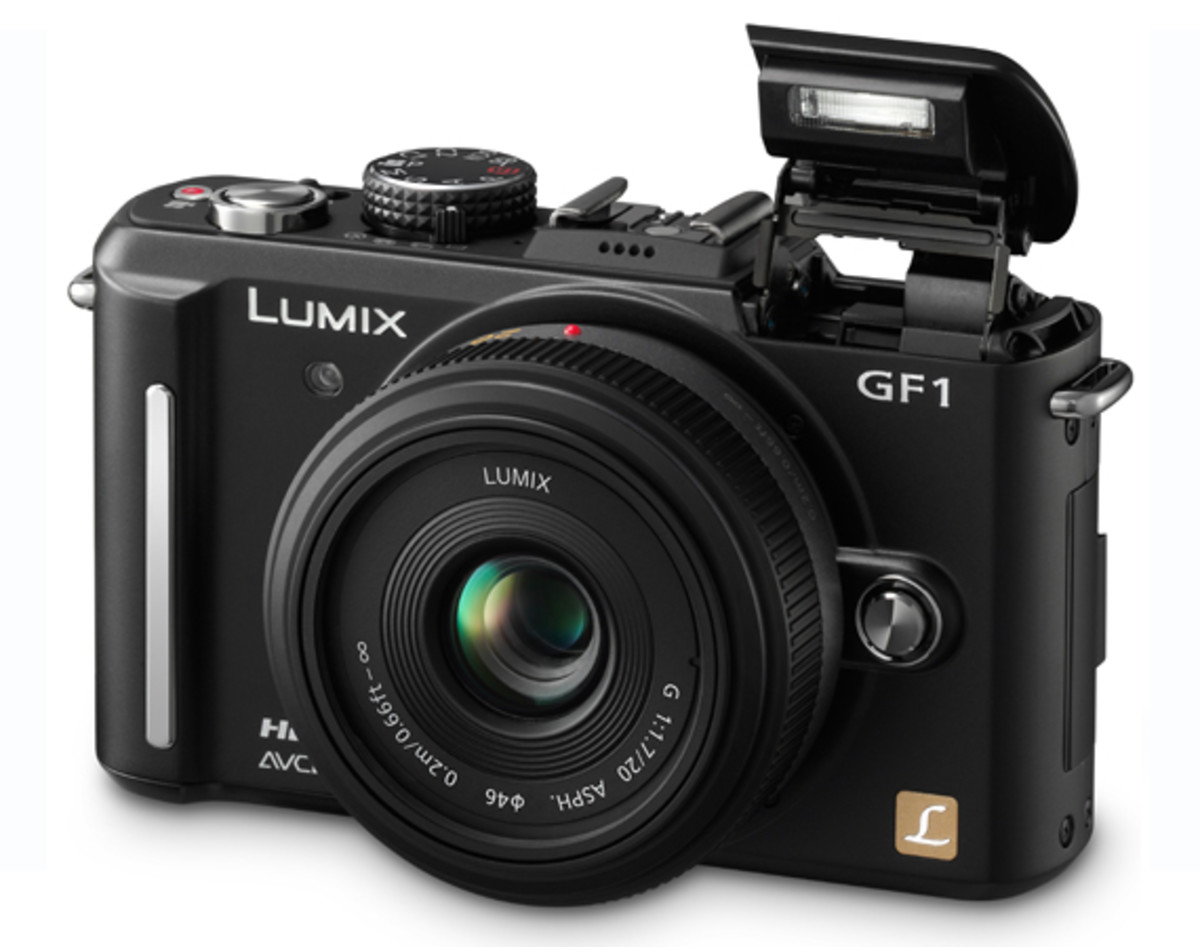 Panasonic LUMIX DMC-GF1 Black w. Flash Open