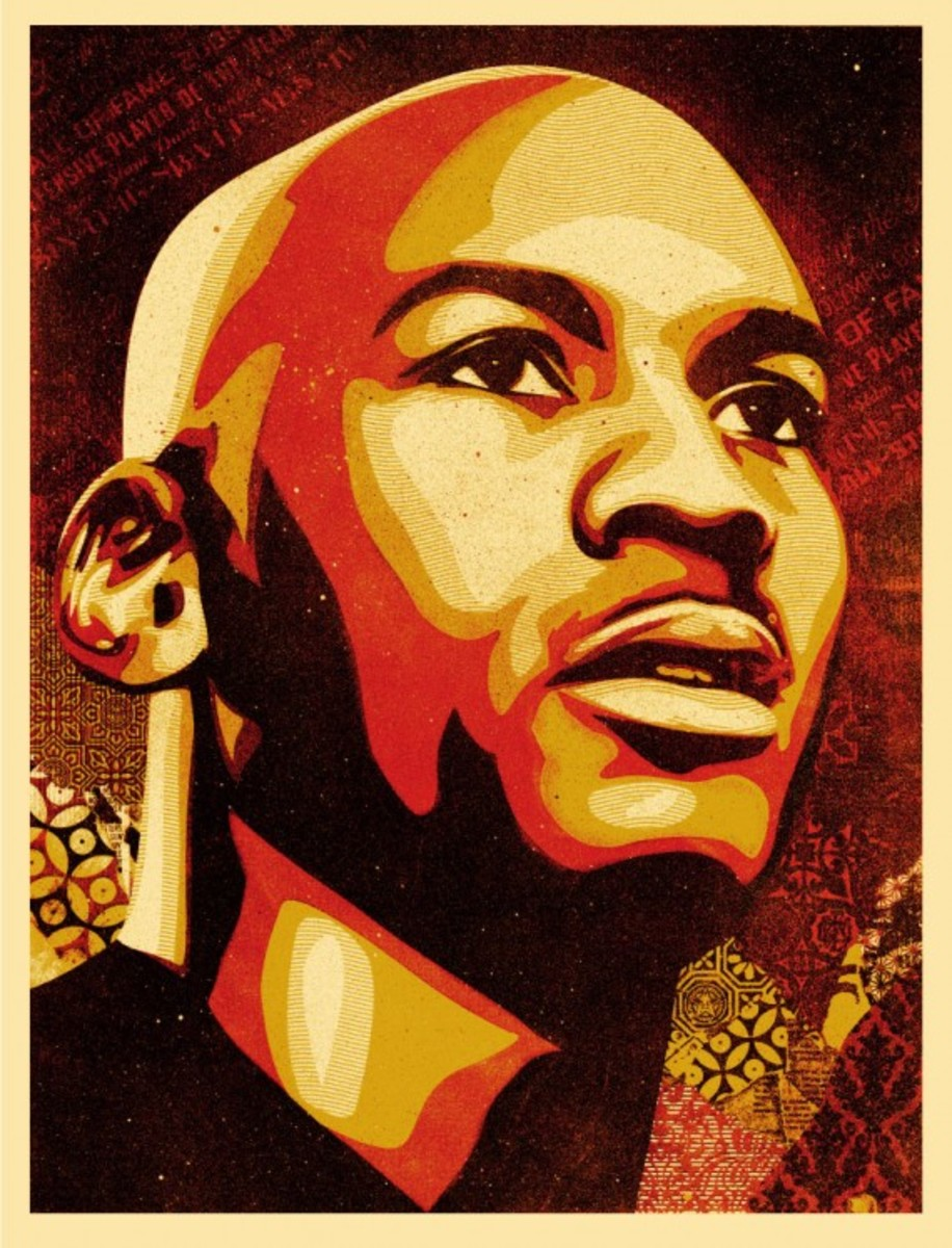 Shepard Fairey x Michael Jordan x Upper Deck - Hall of Fame Tribute Series Prints - Hall of Fame Portrait