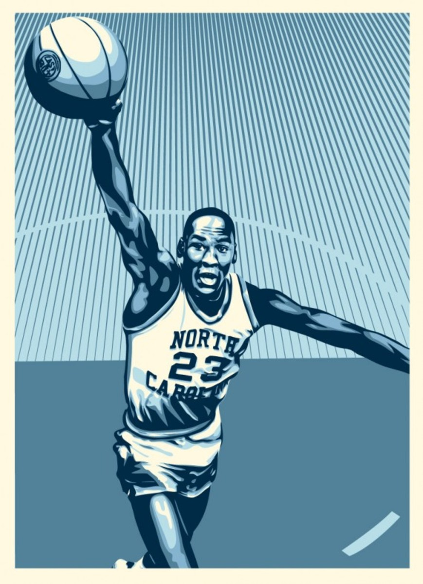 Shepard Fairey x Michael Jordan x Upper Deck - Hall of Fame Tribute Series Prints - Jordan UNC