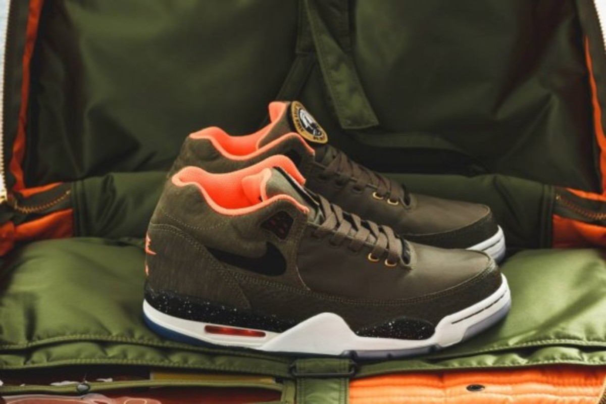 Nike Air Flight Squad Premium QS - Medium Olive/Orange-Black - 7