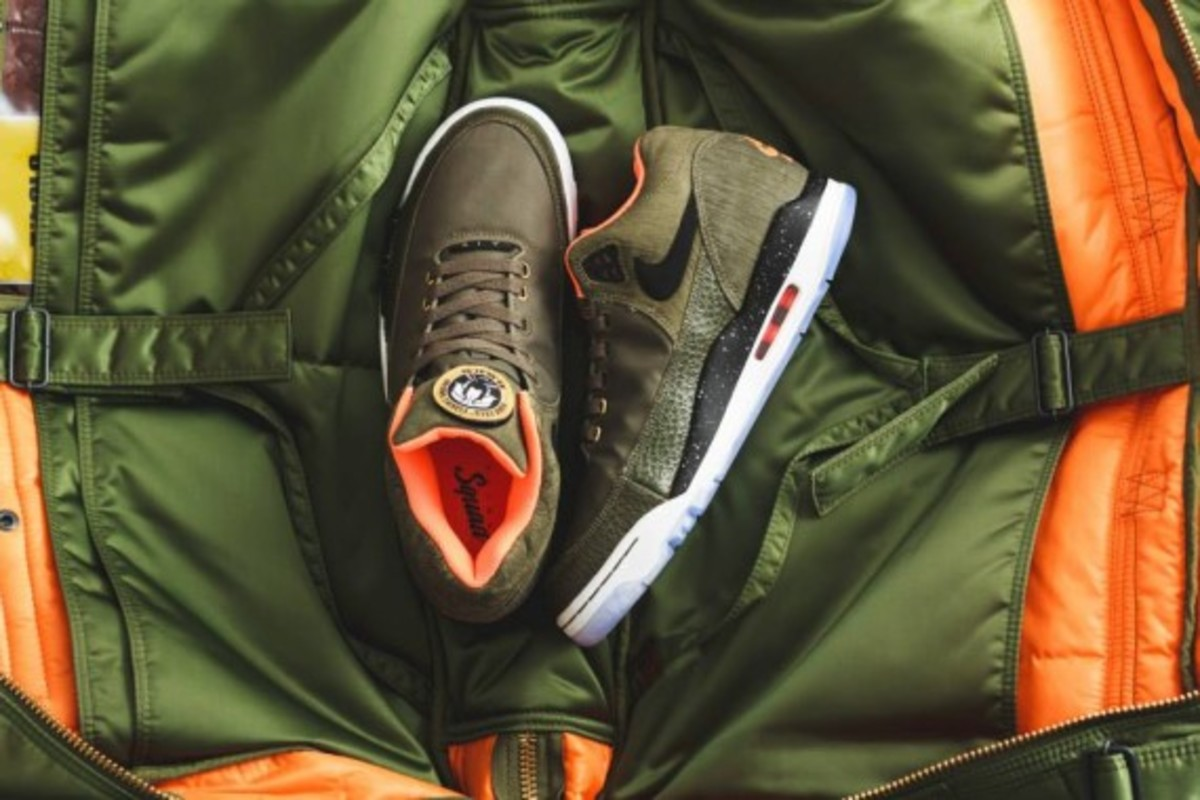 Nike Air Flight Squad Premium QS - Medium Olive/Orange-Black - 6