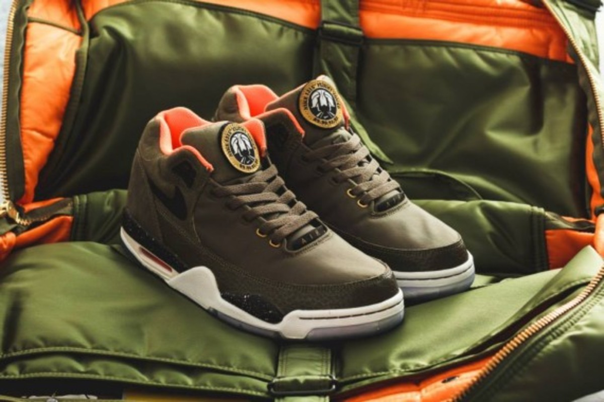 Nike Air Flight Squad Premium QS - Medium Olive/Orange-Black - 5
