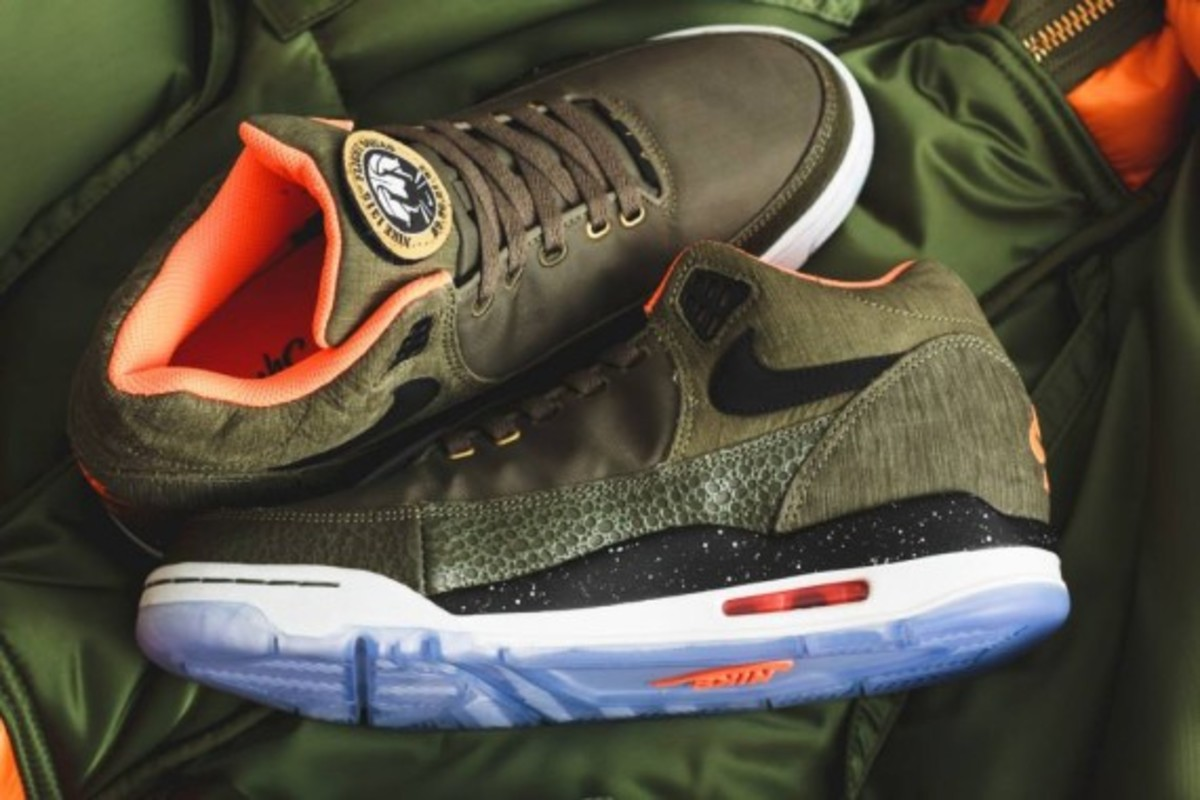 Nike Air Flight Squad Premium QS - Medium Olive/Orange-Black - 3