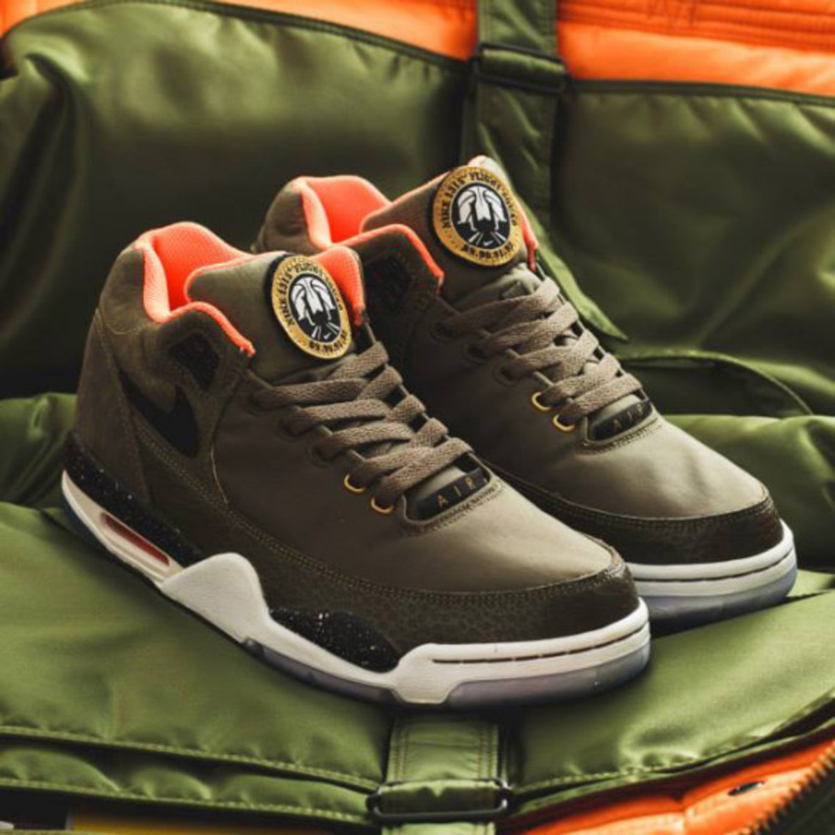 Nike Air Flight Squad Premium QS - Medium Olive/Orange-Black - 0