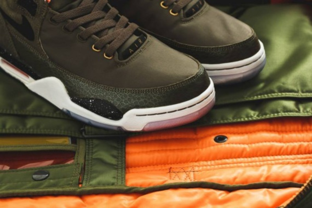 Nike Air Flight Squad Premium QS - Medium Olive/Orange-Black - 2