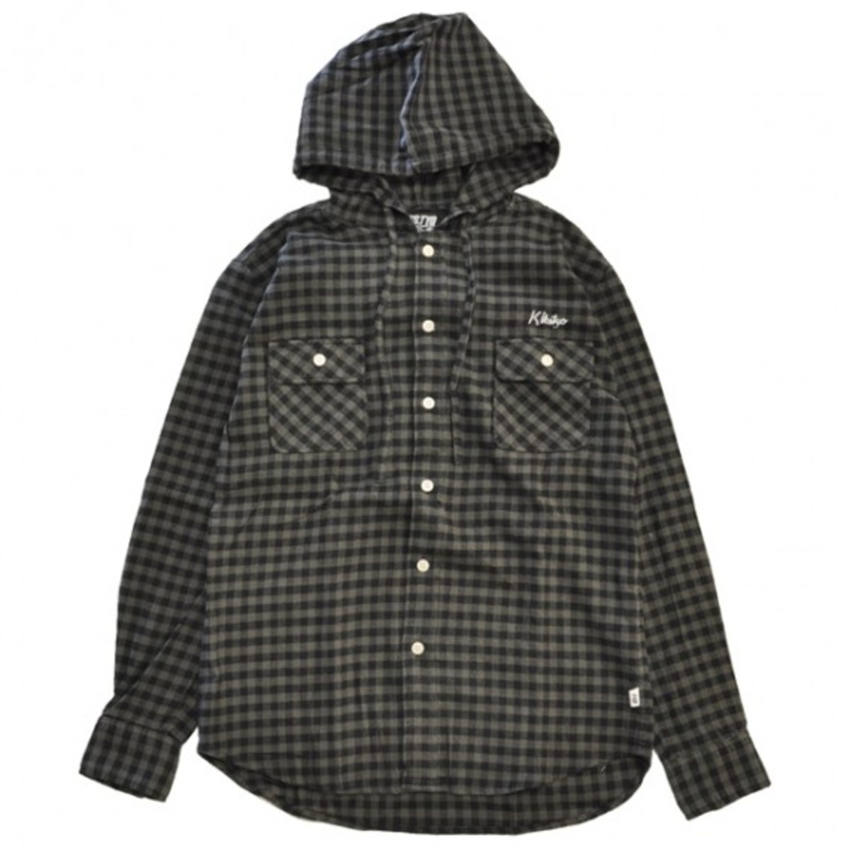 buffalo-check-hooded-shirt-black