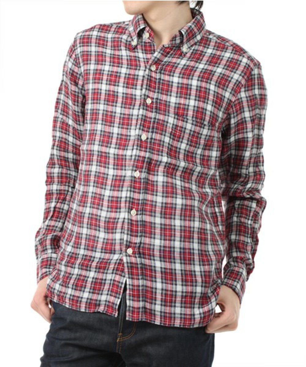 check-button-down-shirt-red