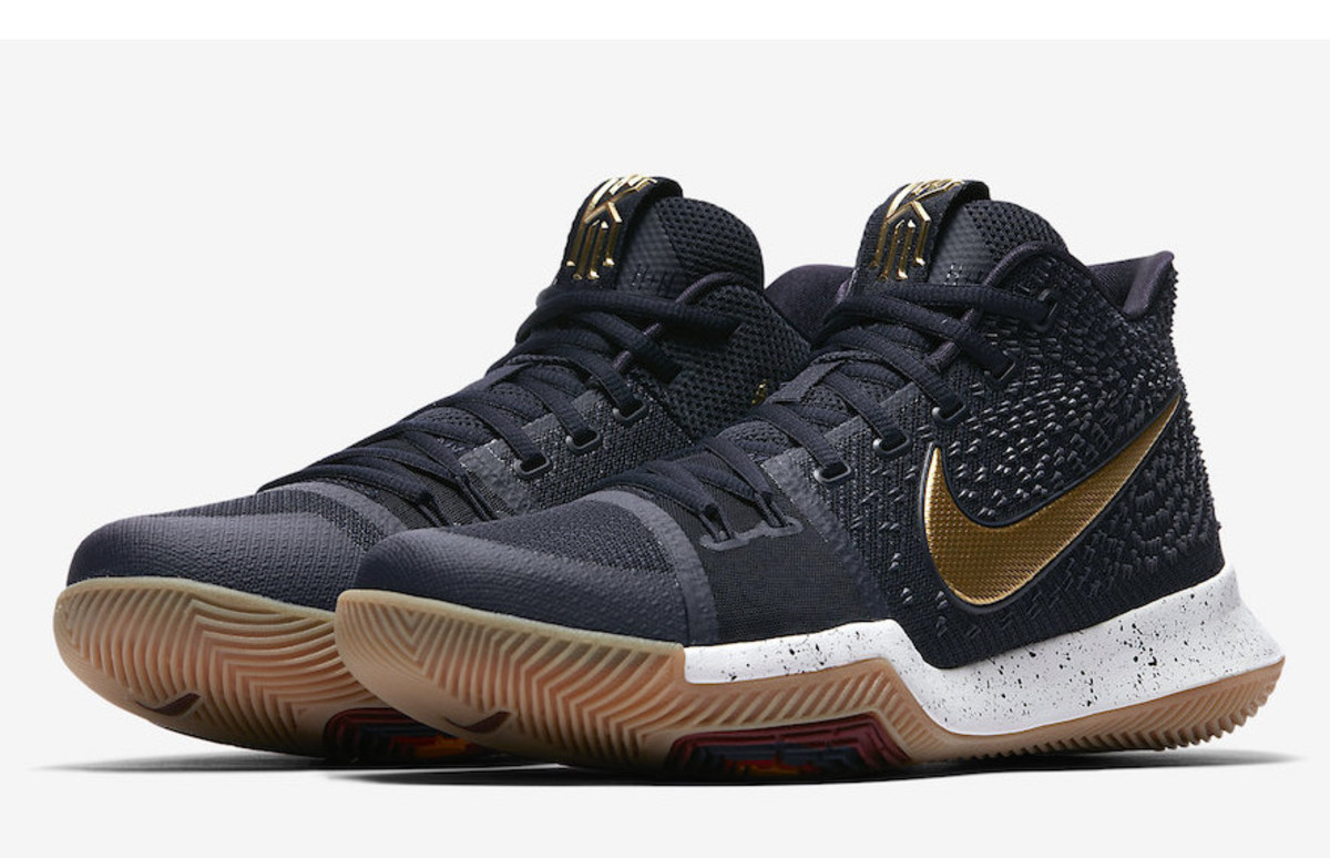 best service 61589 e0de6 The Nike Kyrie 3 Gets a Striking Black and Gold Colorway - Freshness Mag