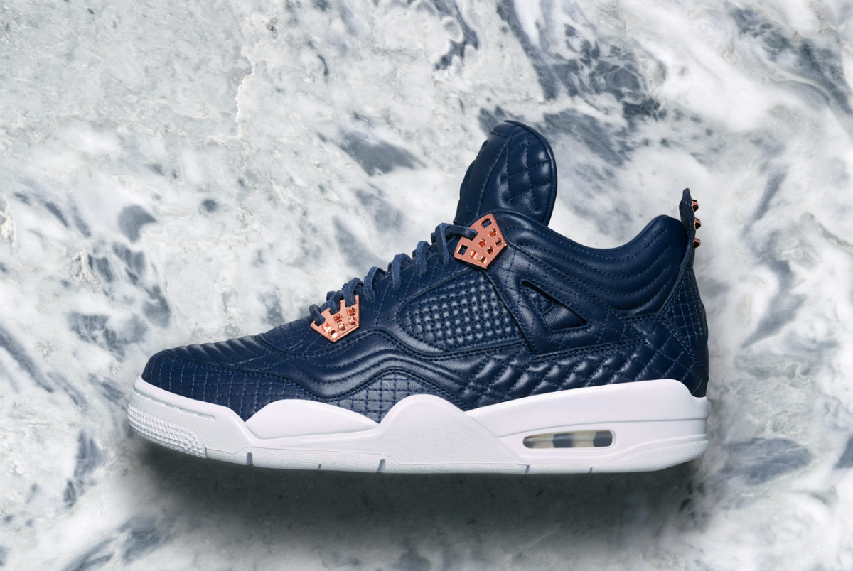 The Air Jordan 4 Retro Premium in Quilted Navy Leather Launches This ... 9e6bcae88