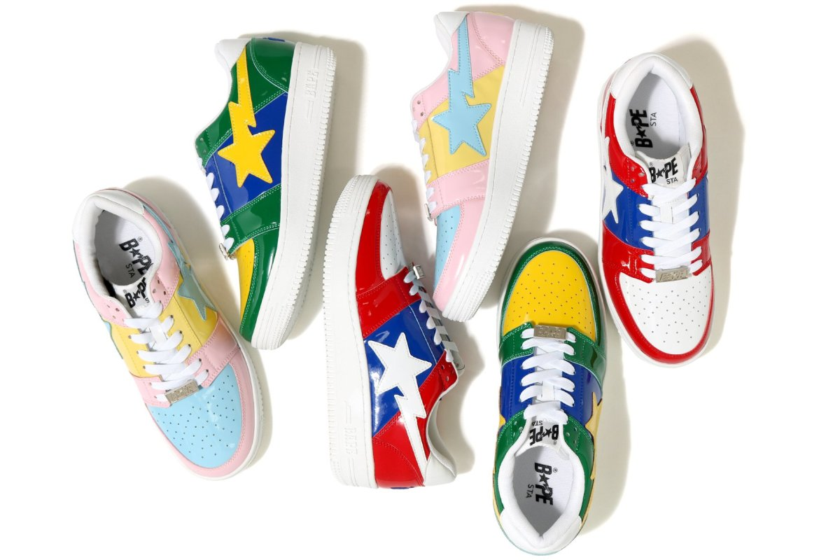 25389225a74f The BAPE STA Low Is Returning in a Trio of Bright Patent Leather ...
