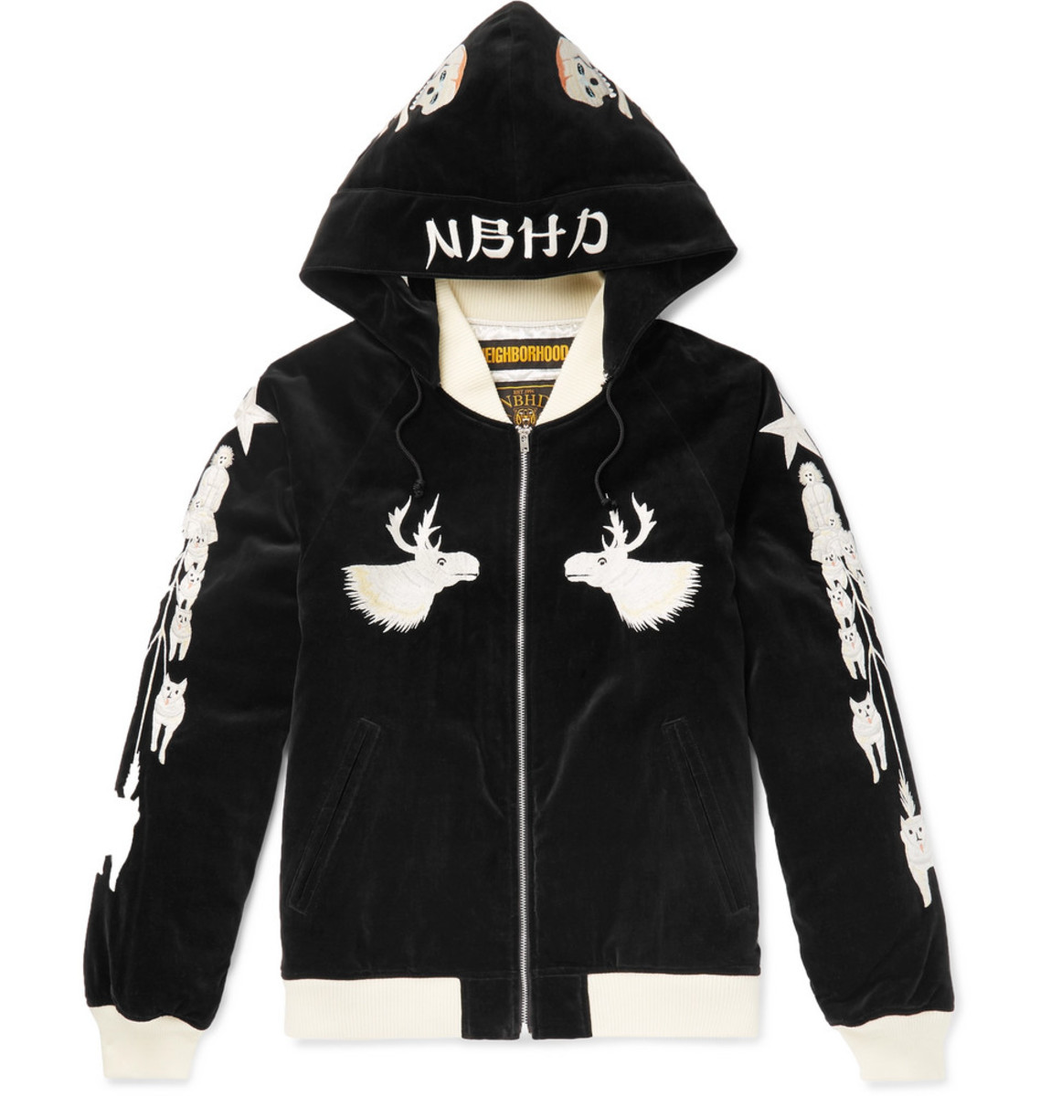 neighborhood-embroidered-cotton-velvet-hooded-bomber-jacket