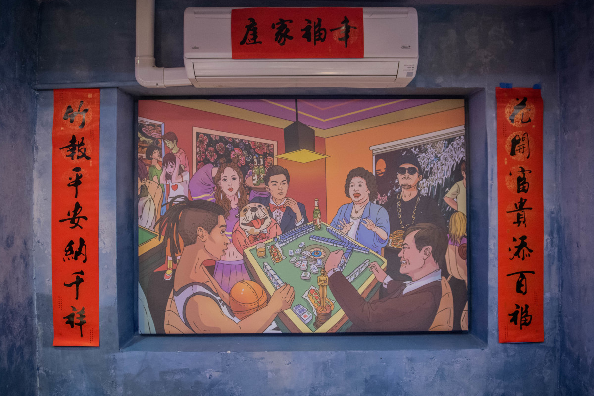 Over Rice Studio mural of famous Taiwanese figures: Jeremy Lin, Jolin  Tsai, Jay Chou, Chen Chu, MC HotDog and Ang Lee (from left to right)