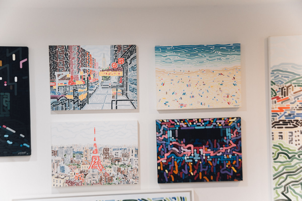 From top left to bottom left: 'Chinatown,' 'Beach of La Concha 1' and 'Tokyo Skyline'